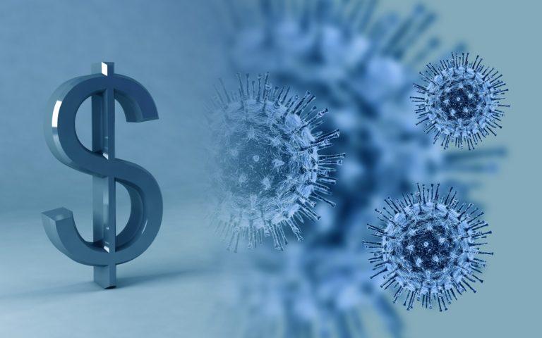 Darstellung Virus und Dollarzeichen
